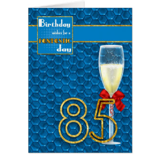 85th Birthday - Geometric Birthday Card Champagne