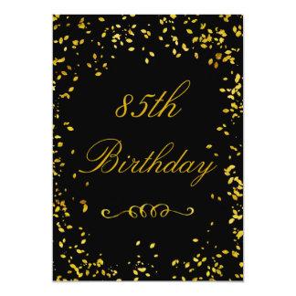 "85th Birthday Glamorous Gold Confetti 5"" X 7"" Invitation Card"