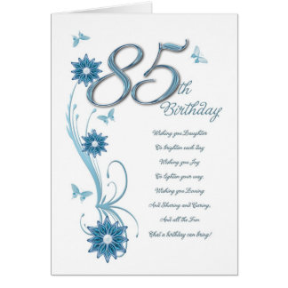 85th birthday in teal with flowers and butterfly card