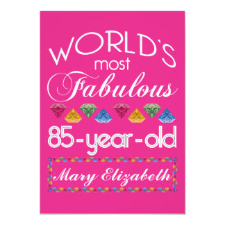 """85th Birthday Most Fabulous Colorful Gems Pink 5"""" X 7"""" Invitation Card"""