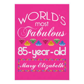85th Birthday Most Fabulous Colorful Gems Pink Personalized Invites