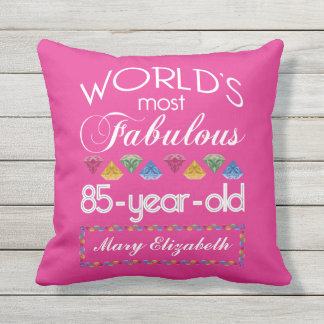 85th Birthday Most Fabulous Colorful Gems Pink Outdoor Pillow