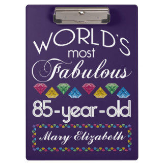 85th Birthday Most Fabulous Colorful Gems Purple Clipboards