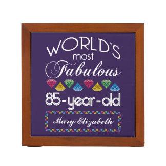 85th Birthday Most Fabulous Colorful Gems Purple Desk Organizers