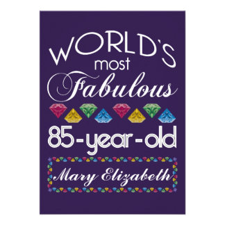85th Birthday Most Fabulous Colorful Gems Purple Personalized Announcement