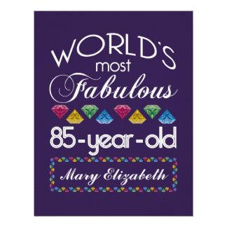 85th Birthday Most Fabulous Colorful Gems Purple Letterhead Template