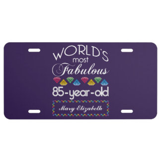 85th Birthday Most Fabulous Colorful Gems Purple License Plate