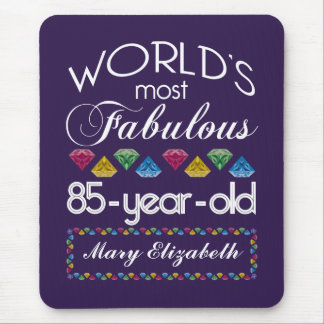 85th Birthday Most Fabulous Colorful Gems Purple Mousepads