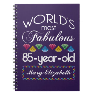 85th Birthday Most Fabulous Colorful Gems Purple Notebooks