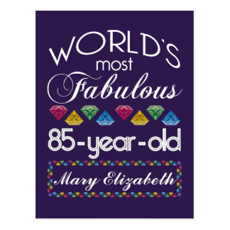 85th Birthday Most Fabulous Colorful Gems Purple Postcards