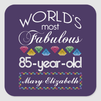 85th Birthday Most Fabulous Colorful Gems Purple Square Sticker