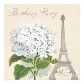 "85th Birthday Paris Vintage White Hydrangea Flower 5.25"" Square Invitation Card"
