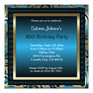 "85th Birthday Party   Blue Metallic & Gold 5.25"" Square Invitation Card"