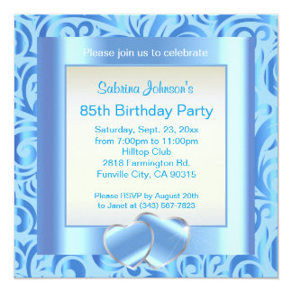 "85th Birthday Party | Blue, Silver & White Verder 5.25"" Square Invitation Card"