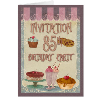 85th Birthday Party - Cakes, Cookies, Ice Cream Card