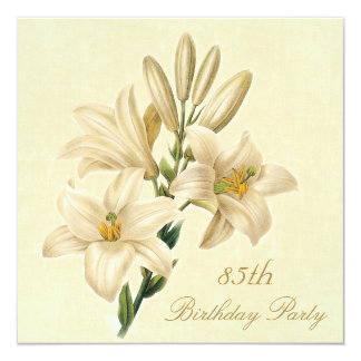 """85th Birthday Party Chic Vintage Lily Flowers 5.25"""" Square Invitation Card"""