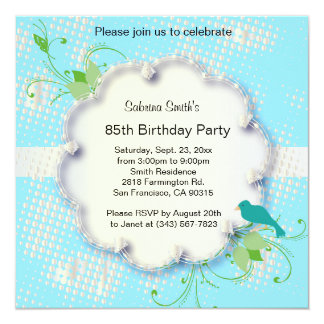 "85th Birthday Party | DIY Text 5.25"" Square Invitation Card"