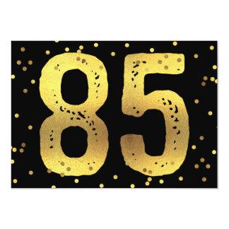 """85th Birthday Party Faux Gold Foil Confetti Black 5"""" X 7"""" Invitation Card"""