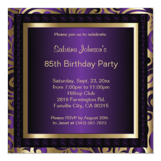 """85th Birthday Party in Purple & Gold Patterns 5.25"""" Square Invitation Card"""