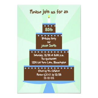 85th Birthday Party Invitation Cake on Green