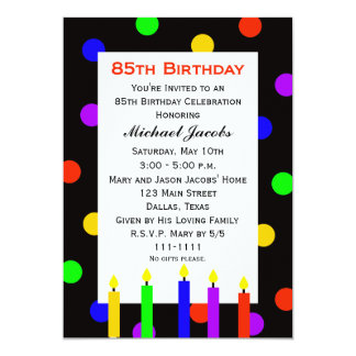 85th Birthday Party Invitation Candles and Dots