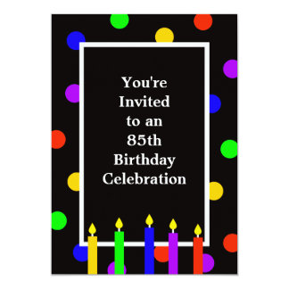 85th Birthday Party Invitation Colorful Candles