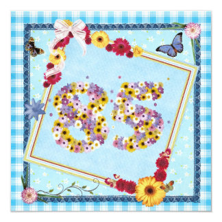 85th Birthday party Invitation flowers,butterflies