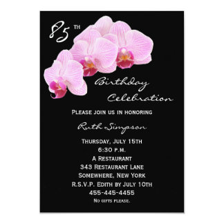 85th Birthday Party Invitation Orchids
