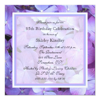85th Birthday Party Invitation Purple Hydrangeas