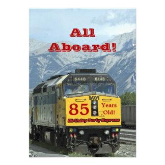 85th Birthday Party Invitation Railroad Train Personalized Invitations
