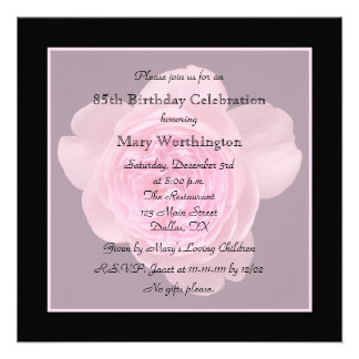 85th Birthday Party Invitation - Rose for 85th