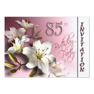 85th Birthday Party Invitation - white Lilies