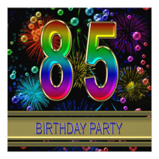 85th Birthday party Invitation with bubbles