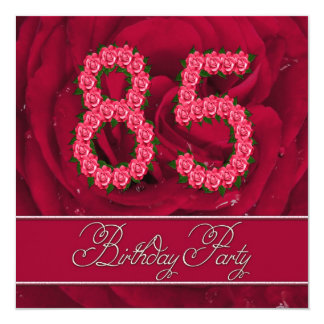 85th birthday party invitation with roses
