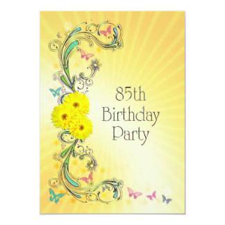 85th Birthday party Invitation with yellow flowers
