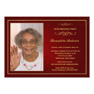 85th Birthday Party Invitations - with photo