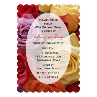 "85th Birthday Party Multi Color Roses 5"" X 7"" Invitation Card"
