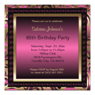 "85th Birthday Party | Pink Metallic & Gold 5.25"" Square Invitation Card"