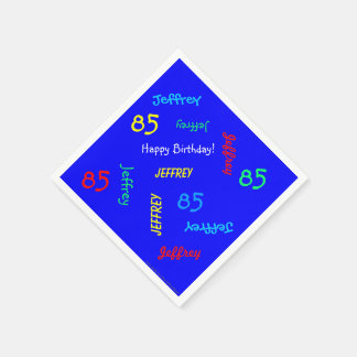 85th Birthday Party Repeating Names Blue Paper Paper Napkin