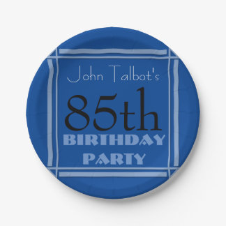 85th birthday Party Retro Frame Blue paper Plates 7 Inch Paper Plate