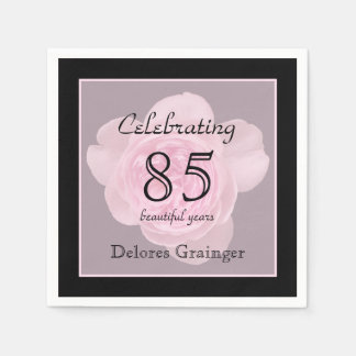 85th Birthday Party Rose Paper Napkins