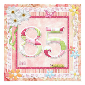 """85th birthday party scrapbooking style 5.25"""" square invitation card"""
