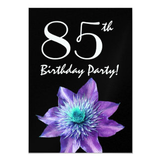 """85th Birthday Party Template Purple Passion Flower 5"""" X 7"""" Invitation Card"""