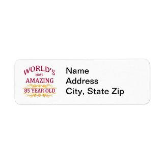 85th. Birthday Return Address Label
