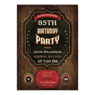 "85th Birthday Vintage Chalkboard & Wood 5"" X 7"" Invitation Card"