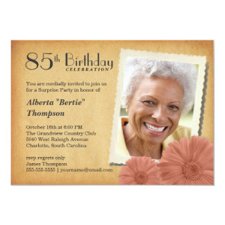 85th Birthday Vintage Daisy Photo Invitations