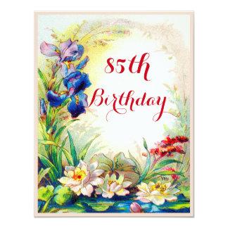 "85th Birthday Vintage Waterlilies and Iris Flowers 4.25"" X 5.5"" Invitation Card"