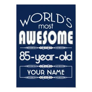 "85th Birthday Worlds Best Fabulous Dark Blue 5"" X 7"" Invitation Card"