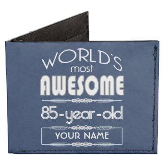 85th Birthday Worlds Best Fabulous Dark Blue Billfold Wallet