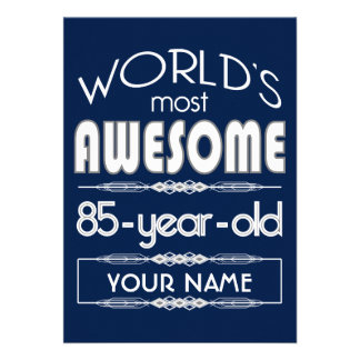 85th Birthday Worlds Best Fabulous Dark Blue Custom Announcements